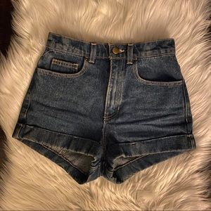 american apparel high waisted jean shorts size 24